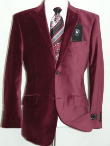 Burgundy Velvet Jacket Two Button Side Vents By Giorgio Cosani