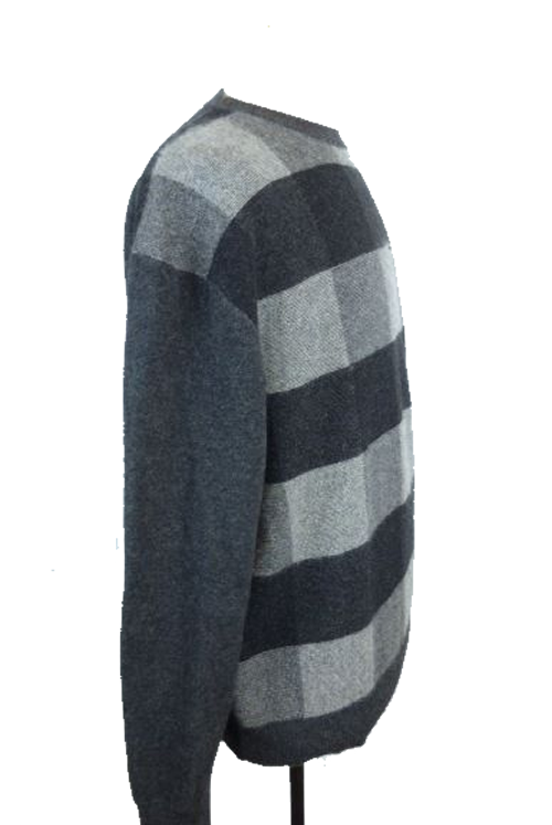 Tulliano Gray Charcoal Black Plaid 100% Cashmere Sweater Pullover